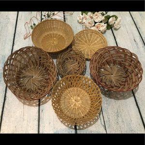 Set of 6 basket wall hanging wicker wood boho tan